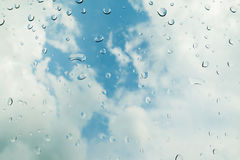 Rain and water drops background, selective focus Royalty Free Stock Photography
