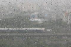 Rain water drops on blue royalty free stock photo