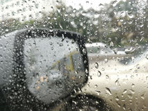 Rain water drops while driving Stock Photo