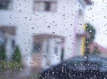 Rain water drops on a glass. nature. Royalty Free Stock Image