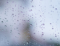 Rain water drops on a glass. nature. Royalty Free Stock Images