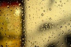 Rain water drops texture on glass Stock Photos
