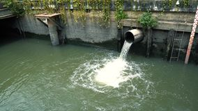 Rain water flows from the sewer pipe after the downpour, the concept prevents flooding in the city