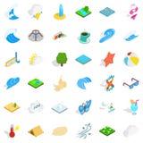 Rain water icons set, isometric style Royalty Free Stock Photos