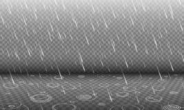 Rain with water ripples 3D effect isolated. On transparency background, autumn rainfall, realistic heavy rain foreground with blurred drops and circle waves royalty free illustration