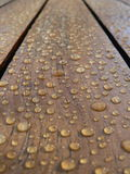 Rain water on a table. Rain water droplets on a varnished table royalty free stock photos