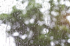 Rain water in the window glass. Water drops running in the window glass Stock Image