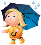 Rain weather, girl with umbrella. Rain weather, little girl with umbrella walking under the first water drop Stock Photo