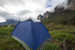 After the rain, wet campsite in Mount Roraima, Venezuela Royalty Free Stock Photography