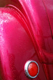Rain Wet Hot Rod Car Tail Light and Rear Fender stock images
