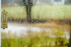 Rain through window Royalty Free Stock Photography