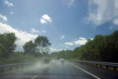 Rain on windscreen after rain storm on a sunny day Royalty Free Stock Photography