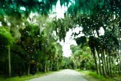 Rain on Windshield. Enhanced rain on a windshield looking towards a tree lined road Stock Photography