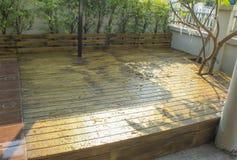 Rain on the wooden. Rain, wet wood floors Royalty Free Stock Image