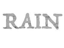 RAIN word with gray raindrops illustration Stock Photos