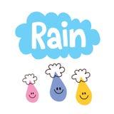 Rain. Word rain and raindrops cute characters Stock Photos