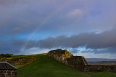 Rainbiow over Ruined Castle Walls stock photography