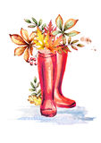 Rainboots and autumn leaves. Watercolor illustration royalty free illustration