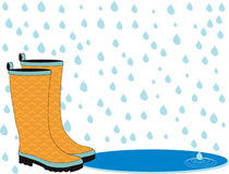 Rainboots in the Rain Royalty Free Stock Images