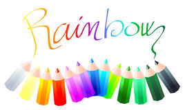 Rainbow. Vector illustration that depicts a set of colored pencils forming the word Rainbow Stock Image