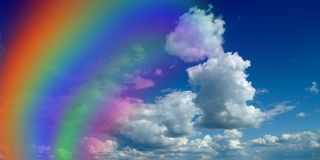 Rainbow. Against clouds. colors in the sky Stock Image
