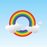 Rainbow. Illustration of a rainbow and two clouds Stock Photos