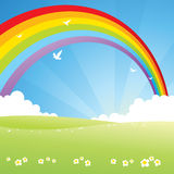 Rainbow. And clouds on the white birds stock illustration