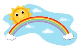 Rainbow. Illustration of a colored rainbow with the sun that smiles and a blue sky Stock Photography