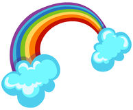 Rainbow. Illustration of isolated a rainbow with two clouds on white vector illustration