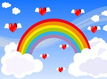 Hearts flying in a sky with Rainbow and clouds Stock Images