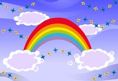 Rainbow in the sky with birds Stock Images