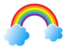 Rainbow. Isolated vector illustration of colorful rainbow with two blue cloud on white background