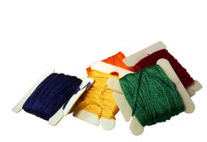 Rainbow. Colored embroidery floss isolated on a white background Royalty Free Stock Photography