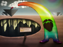 The Rainbow. Pop surrealism digital painting with a bearded translucent rainbow figure, arching over a chasm resembling a mouth Royalty Free Stock Photo