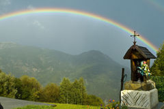 Rainbow in the Italian mountains Royalty Free Stock Images