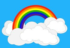 Rainbow. Simple vector drawing of rainbow in clouds royalty free illustration