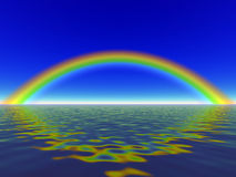 Rainbow. Blue sky, pasific sea Stock Image