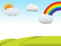 Rainbow. Green landscape and rainbow with sun Royalty Free Stock Image