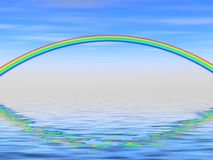 Rainbow. A beautiful rainbow in a blue sky with reflection in the water Royalty Free Stock Image