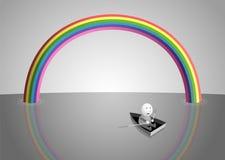 Rainbow. Over the sea, cartoon illustration Royalty Free Stock Image