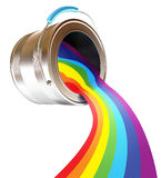 Rainbow. Paint is poured from a can. Rainbow. Isolated on white background. 3d render Royalty Free Stock Photos