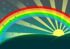 Rainbow. Vector landscape with sun and rinbow