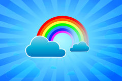 Rainbow. Illustration Of Rainbow Surrounded By Clouds Stock Photography
