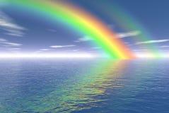 Rainbow. Digital render of a rainbow over the sea vector illustration