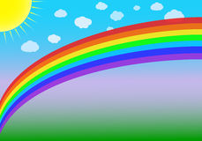Rainbow. Vector illustration of a rainbow, sun and clouds on a blue-green background Stock Photos