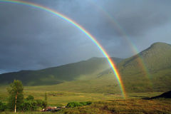 Rainbow. Double rainbow in the scottish highlands royalty free stock images