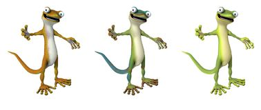 A Rainbow of 3D Cartoon Geckos Stock Photo