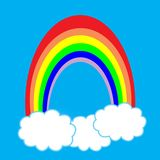 Rainbow. With clouds and a blue sky royalty free illustration