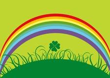 Rainbow. Rainbow on the fourleaf clover Stock Photos