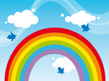 Rainbow. Illustration sky with birds and rainbow